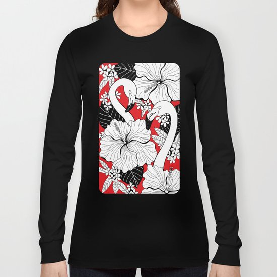 Flamingos and tropical flowers and leaves Long Sleeve T-shirt