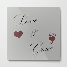 Love and Grace with Hearts Metal Print