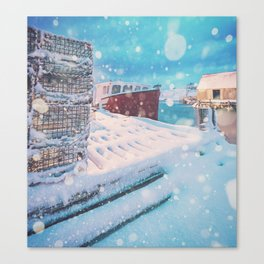 Snowing in the Cove Canvas Print