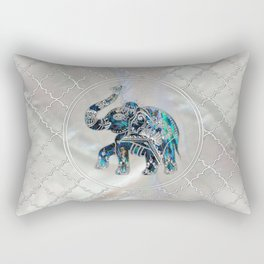 Silver Framed Elephant on Abalone and Pearl Rectangular Pillow