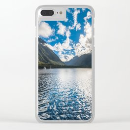 Dramatic clouds in the morning at Milford Sound Clear iPhone Case