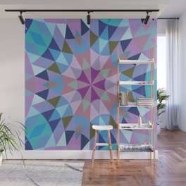 Retro Geometry Mandala Lavender Blue Wall Mural