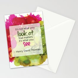 Inspirational Quote - Thoreau - Alcohol Ink Stationery Cards