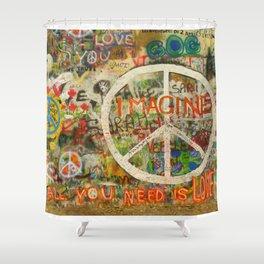 Peace Sign - Love - Graffiti Shower Curtain