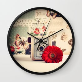 Retro Camera and Red Flower (Retro and Vintage Still Life Photography) Wall Clock