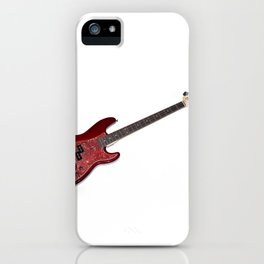 Bass guitar in cherry-colored wood on a white background iPhone Case