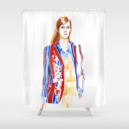fashion #2. Girl in a striped jacket with embroidery Shower Curtain