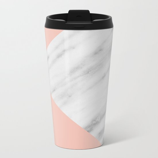 Pink Marble Collage Metal Travel Mug