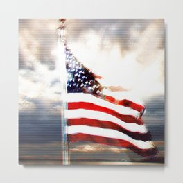 US Flag Totally Glitched Metal Print