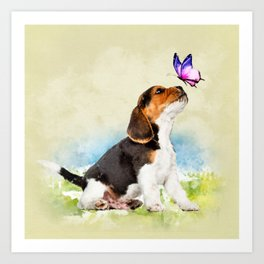 Beagle puppy with butterfly Art Print