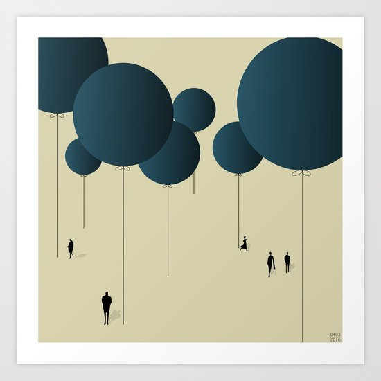 Blue Balloons. Art Print