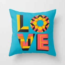 LOVE - Turquoise Throw Pillow