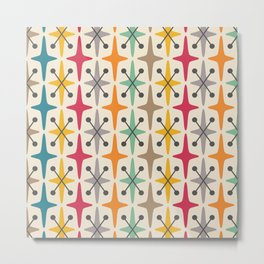 Colorful Mid Century Modern Abstract Star Pattern 225  Metal Print