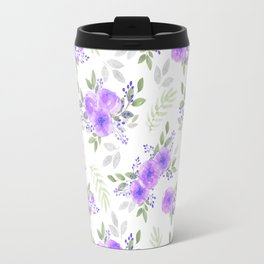 Hand painted violet lilac green watercolor peonies floral Travel Mug