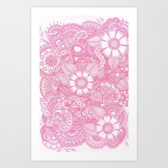 Henna Design - Pink Art Print