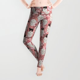 Skulls with cats, bats, and witchy things - halloween, pastel orange, coral Leggings