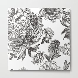 Etching seamless pattern with peonies and anthurium Metal Print
