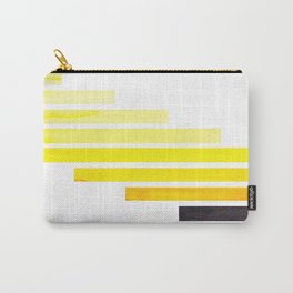Yellow Midcentury Modern Minimalist Staggered Stripes Rectangle Geometric Pattern Watercolor Art Si Carry-All Pouch