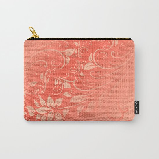 Coral Swirls leaves Carry-All Pouch