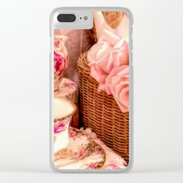 Teacups and Roses 4 Clear iPhone Case