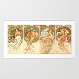 "Alphonse Mucha ""The Arts: Music, Poetry, Painting, Dance (series)"" Art Print"