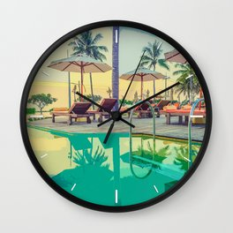 Summer By The Pool Wall Clock