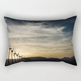 Wind Turbines Landscape Rectangular Pillow