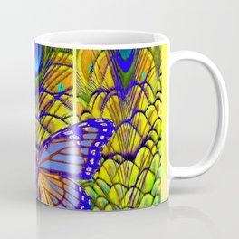 FANTASY PURPLE MONARCH BUTTERFLY PEACOCK FEATHER Coffee Mug