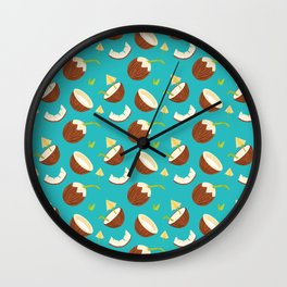 Tropical Turquoise Coconut Pattern Gift Wall Clock
