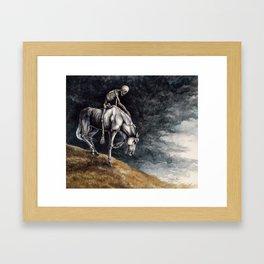 Skeleton Riding a Pale Horse Framed Art Print