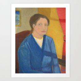 Lady in Sunlit Room Art Print