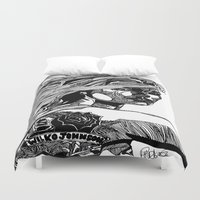 allyson johnson Duvet Covers featuring B&W Fashion Illustration - Wilko Johnson by Paul Nelson-Esch Art