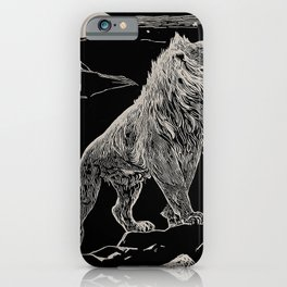 The animal story book Andrew Lang - 1904 Black & White Ink Lion Magical Mystical Animal Art iPhone Case