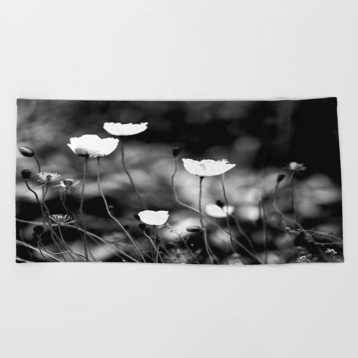 White Poppy Flowers in Black and White #decor #society6 Beach Towel
