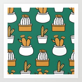 Cactus Neck Gator Teal Cactus Art Print