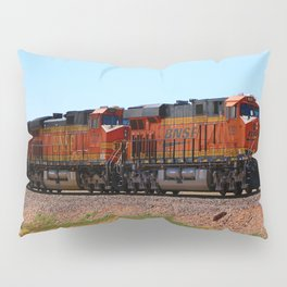 Orange BNSF Engines Pillow Sham