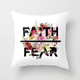 Christian Quote - Faith Over Fear - Cute Floral Watercolor Typography Throw Pillow