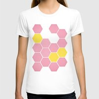 honeycomb T-shirts featuring Pink Honeycomb by Cassia Beck