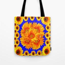 Royal Blue Golden Sunflowers Garden Art Tote Bag
