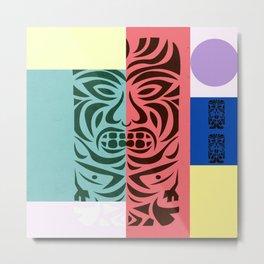 Pop Art x Cubism x Bauhaus x Polynesian Art x Totem Metal Print