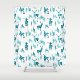 Ice Forest Deer Shower Curtain