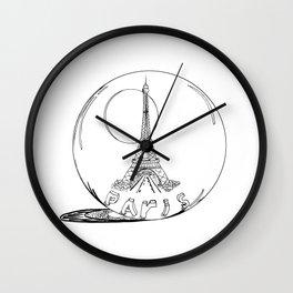 Paris in a glass ball .  City art, Decorative Prints, altwall, Home Decor Graphicdesign Wall Clock