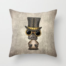 Steampunk Baby Platypus Throw Pillow
