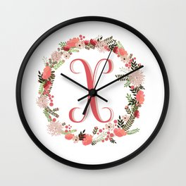 Personal monogram letter 'X' flower wreath Wall Clock