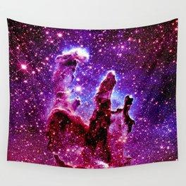 galaxy nebula : Pink & Purple pillars of creation Wall Tapestry