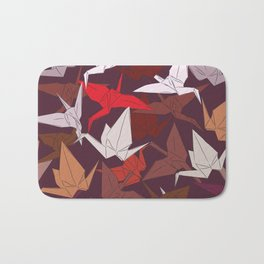 Japanese Origami paper cranes symbol of happiness, luck and longevity, sketch Bath Mat