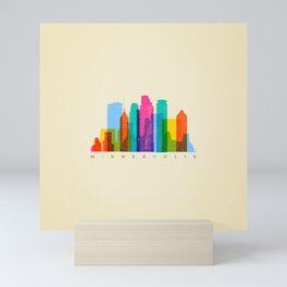 City landscape of Minneapolis, Minnesota Mini Art Print