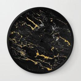 Gold Flecked Black Marble Wall Clock