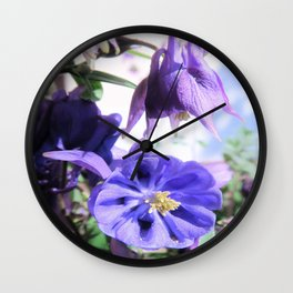 lilac akelei flowers Wall Clock