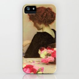 'Flower bouquets and potpourri' still life painting by Herbert Draper iPhone Case